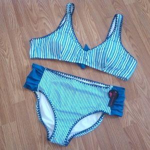 NWT Blue & White No Boundaries Cheeky Bikini 3X